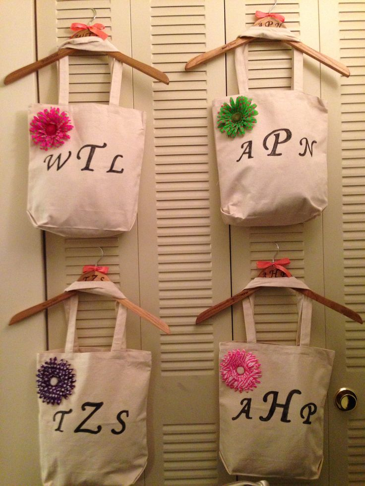 Wedding Gift Bags At Michaels : DIY bridemaid gifts! Bags from Hobby Lobby, traced letters on bag ...