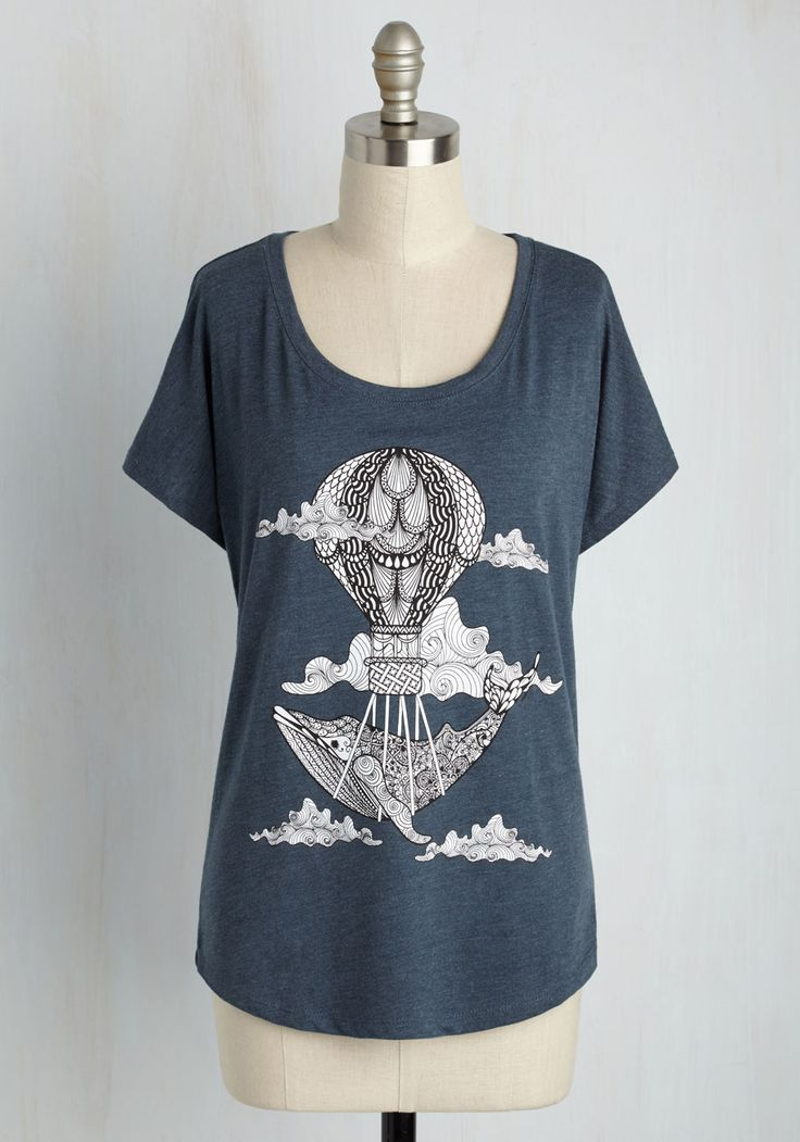 Whale-Meaning T-Shirt - Blue, Casual, Critters, Short Sleeves, Fall, Good, Scoop, Mid-length, Knit, Novelty Print