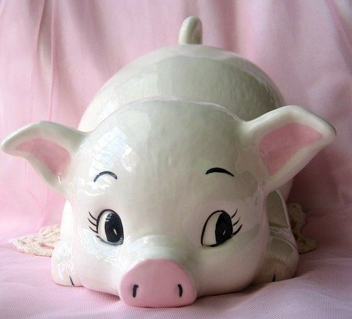 Vintage Ceramic Pig Statue Babies Room Nursery Decor