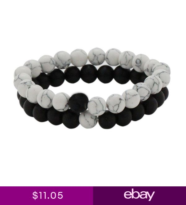 2PCS Distance Bracelets for Lovers Black Matte Agate & White Howlite 8mm Bead US
