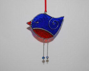 Oiseau rouge bleu Fun - 3D vitrail ornement - décoration maison Decor Suncatcher 3Dimensional fil ailes
