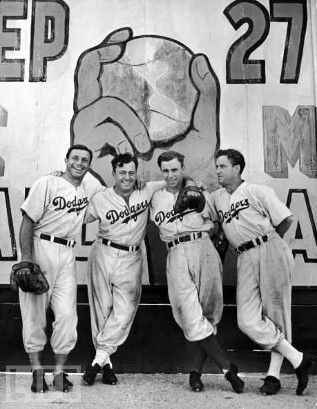 Brooklyn Dodgers spring training in Havana, Cuba, 1942. (L-R) Dolph Camilli, Billy Herman, Pee Wee Reese, and Arky Vaughn.