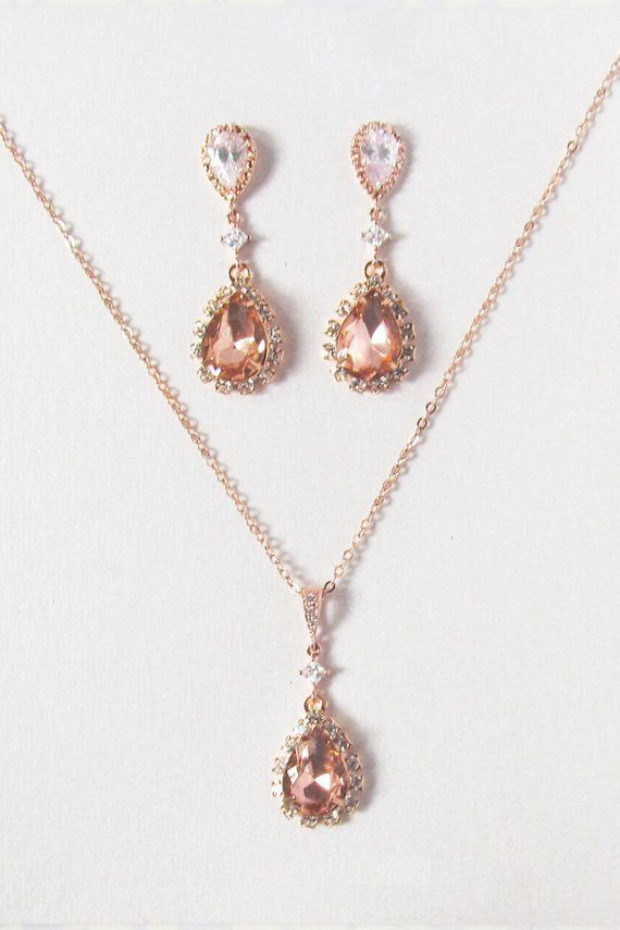 Rose gold bridal jewelry set, rose gold necklace and earring set