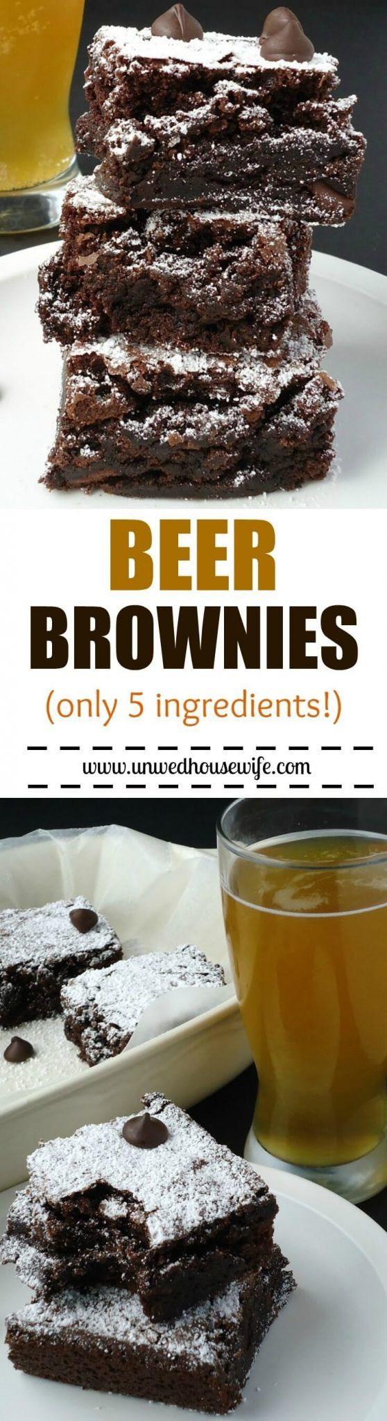 Beer Brownies | Unwed Housewife | Fudgy, dense beer brownies made with your favorite type of beer. Super easy recipe- only 5…