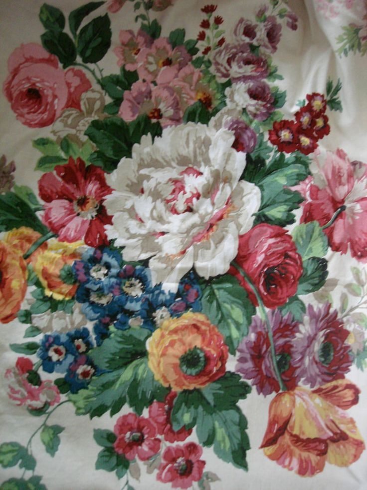 Vintage lined 1940s 1950s Sanderson curtains Cabbage