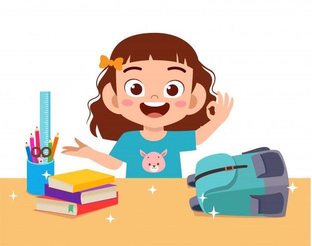 Happy Cute Little Kid Girl With Clean De Premium Vector Freepik Vector Children Girl Character Student Cartoon Kids Graphics Kids Cartoon Characters