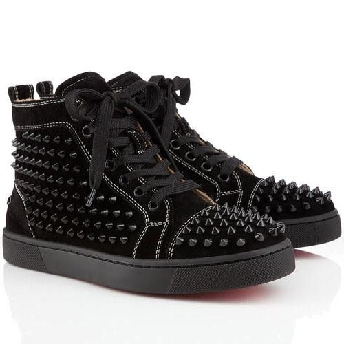 aw15 christian louboutin louis flat spikes suede nuit sneakers