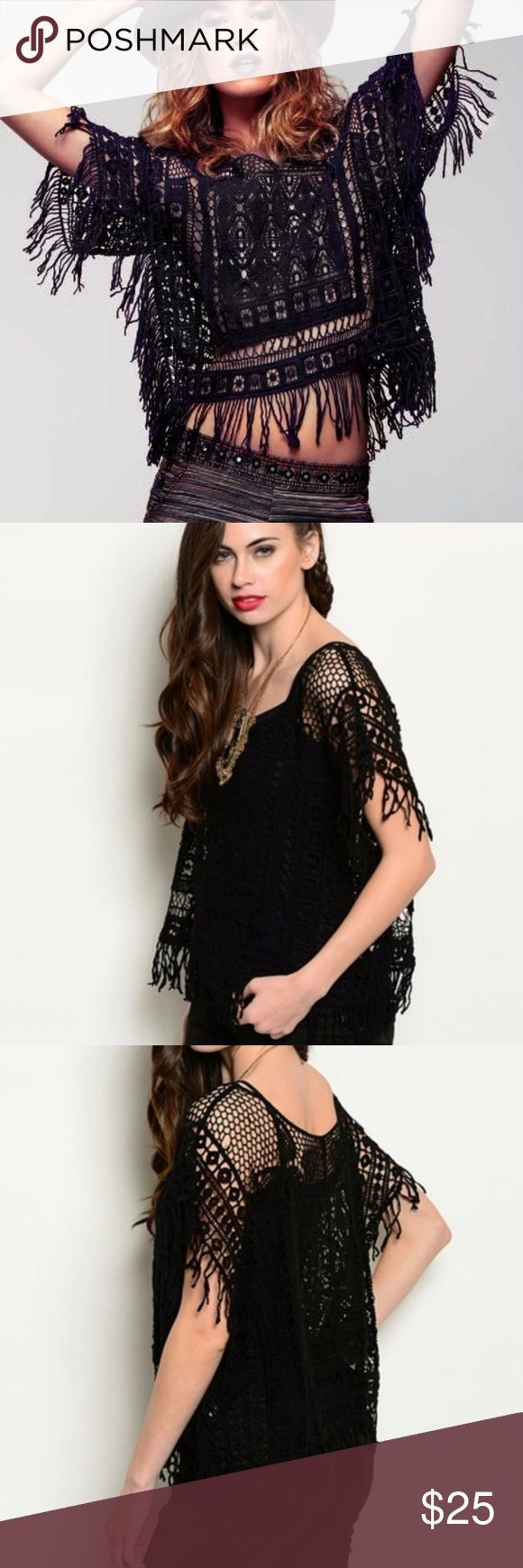 BLK FRI SALE! Crochet Fringe Top Black Open Crochet Fringe Trim Top   Layer it, wear it with a nude bra or nothing underneath ;)  ONE SIZE ONLY (size options are for exposure)  Pit to pit 24in Pit to hem 12in Shoulder to bottom of hem fringe 22in Sleeve length from collar 7in  NWOT boutique direct from makers Tops
