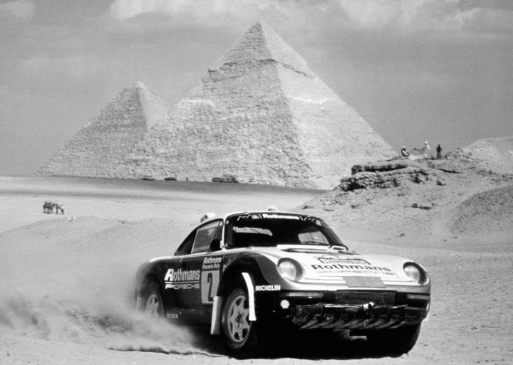 Porsche Type 959 Wins the Pharaoh Rally Oktober 1985. Porsche used the intended bi-turbo engine for the first time; Saeed Al Hajri and John Spiller won the Pharaoh Rally with this car.