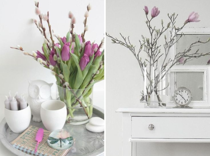 Weidenk tzchen lila tulpen und magnolienzweige in vasen for Wohnung dekorieren mit holz
