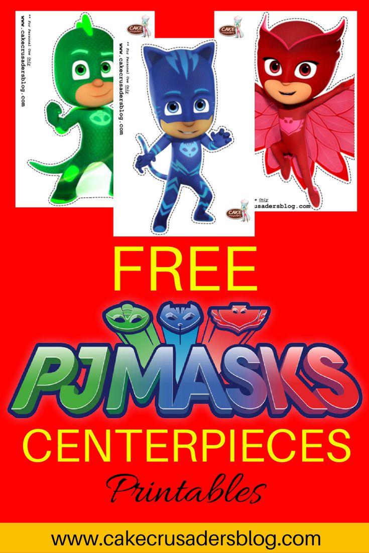 Who goes into the night, so they can save the day? Who are these heroes, to show you the way? CAKE CRUSADERS!! Well technically PJ Mask, if you know the words, lol. But Cake Crusaders will show you the party way…. Free DIY PJ Mask party decorations printables. …