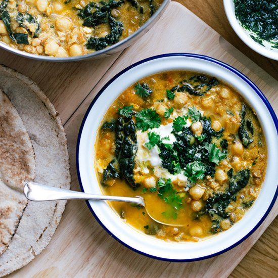 Harira is a spiced and warming Moroccan soup loaded with chickpeas, lentils, and kale.
