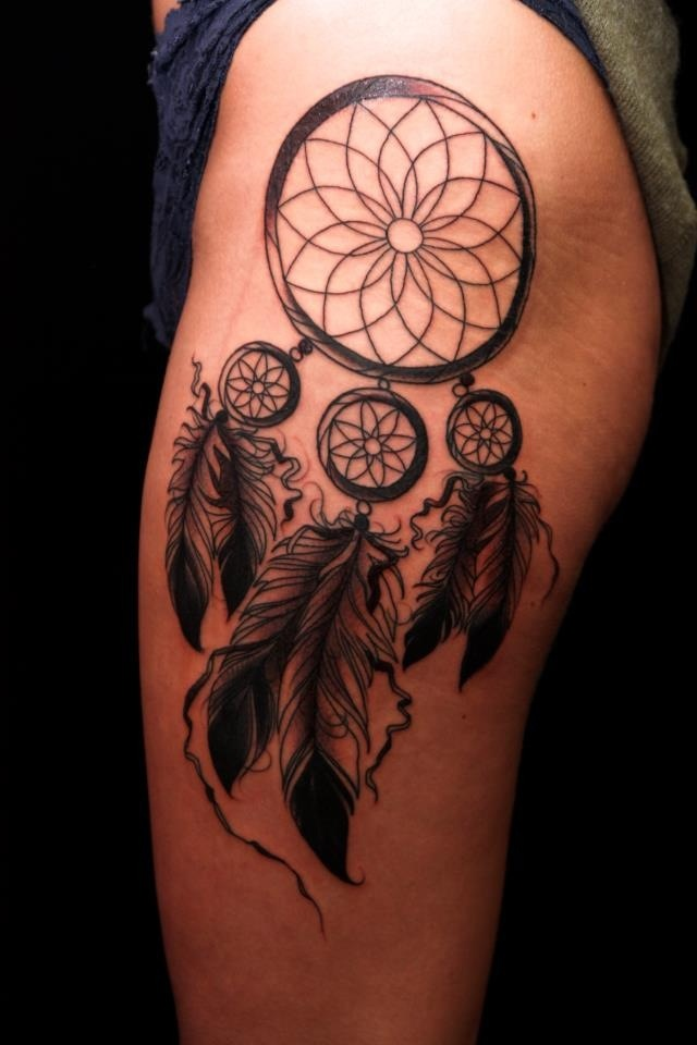 Dream catcher tattoo getting one on my upper thigh or for Getting thigh tattoo