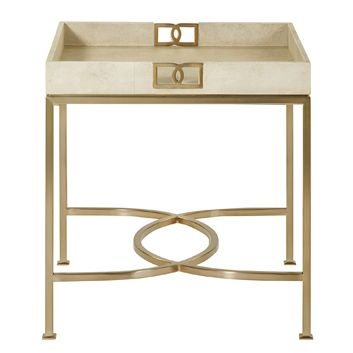 Oriana Ivory Faux Shagreen Tray Gold Side Table #affiliate