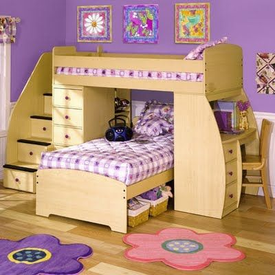 If you took out the bed on the bottom, that would be an awesome plan place! :) You could hang a curtain & they would be in their own little world! :) All Children's Furniture.com