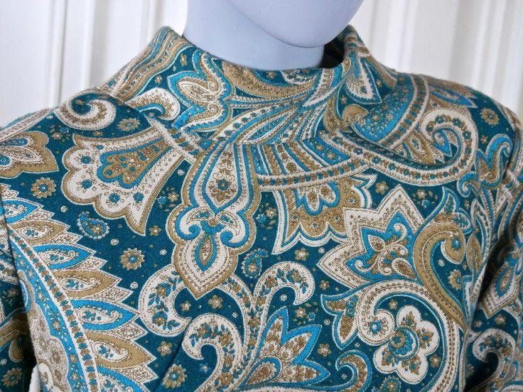 Italian Vintage Maxi Evening Dress, 1960s Black Turquoise Silver Gold Brocade European Slimline Hostess Dress: Size 6 US, Size 10 UK http://etsy.me/2iFuqes #clothing #women #dress #italianvintage #vintagemaxidress #vintage1960s #60sdress