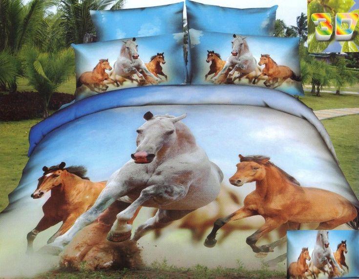 Niebieska pościel bawełniana w biegnące konie