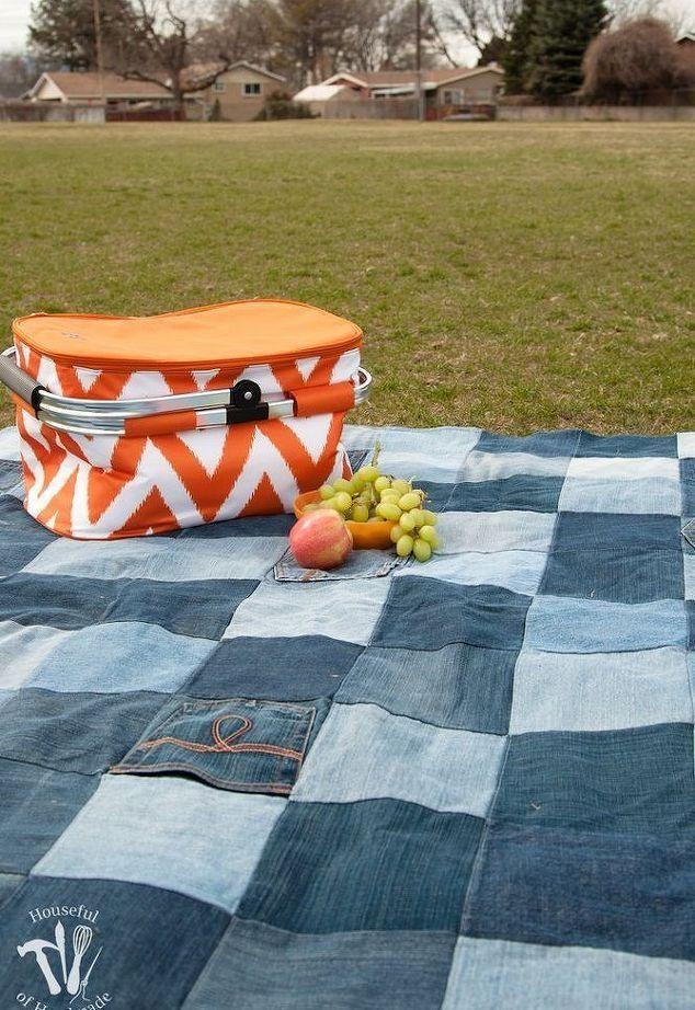 Одеяло для пикника из старых джинсов / Как сэкономить