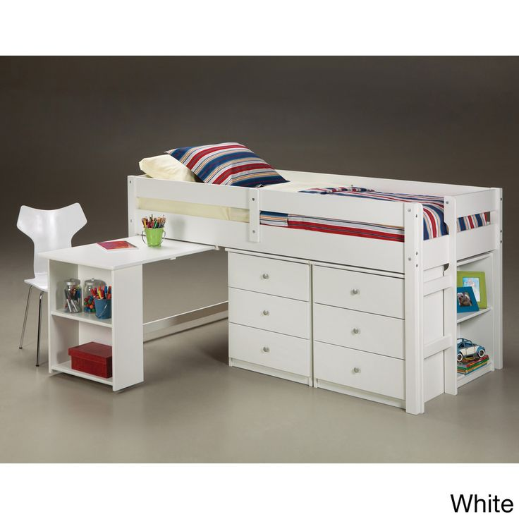 Napoli Low Loft Twin Bed with 6-drawer Storage/ Bookshelves/ Desk | $892