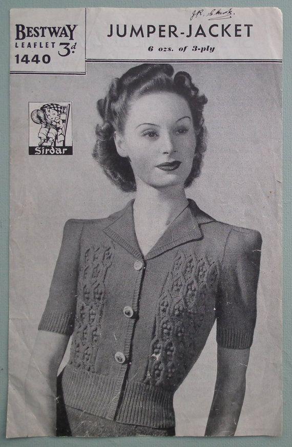 Vintage 1940s Knitting Pattern