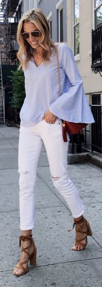 #summer #popular #outfitideas Blue Bell Sleeve Top + White Distressed Jeans