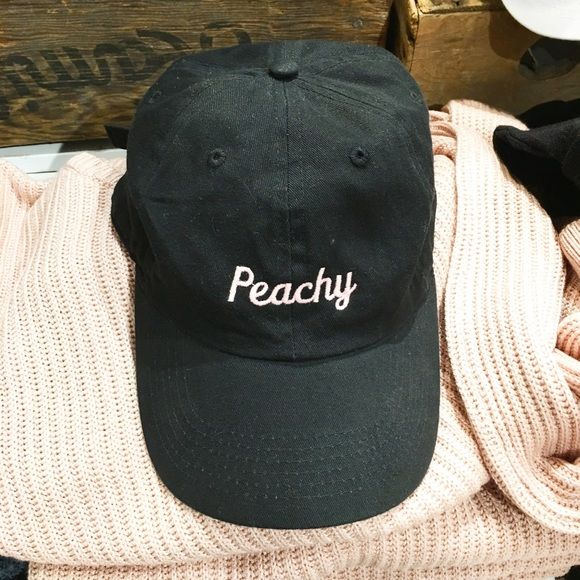 BNWT black peachy  baseball cap Black cap with pink embroidery Brandy Melville Accessories Hats