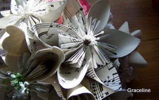 4 Sheet Music Bouquets of Origami Flowers by GracelinePaperStudio, $64.00