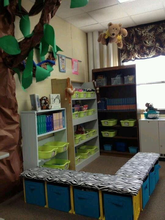 Milk crate seating... would be perfect for classroom LIBRARY!