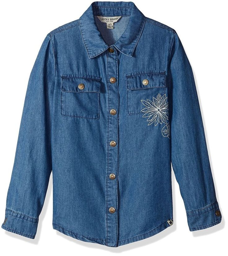 Lucky Brand Kids Girls Long Sleeve Chambray Chloe Top Embroidered Lucy Wash M L #LuckyBrand #CasualSchoolPlaywearEverydayHoliday