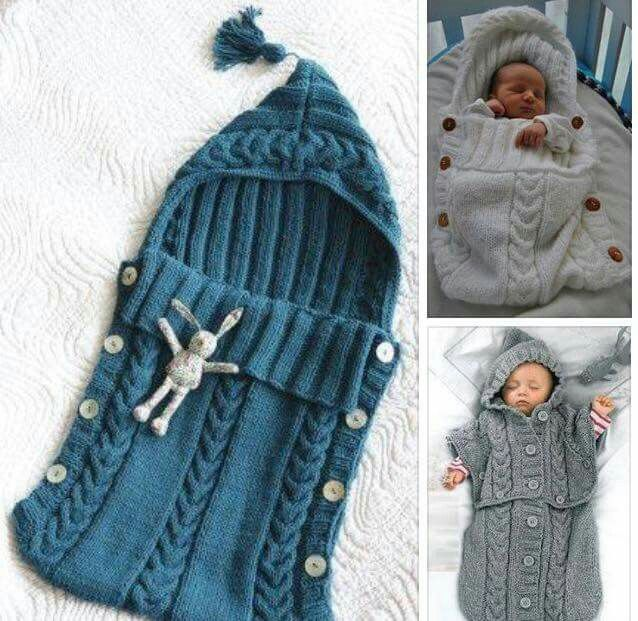 Aww cute idea. And pretty simple. It's a scarf pattern stitched to form a hood with button hoops knitted in on the edge panels. So want to make one of these.