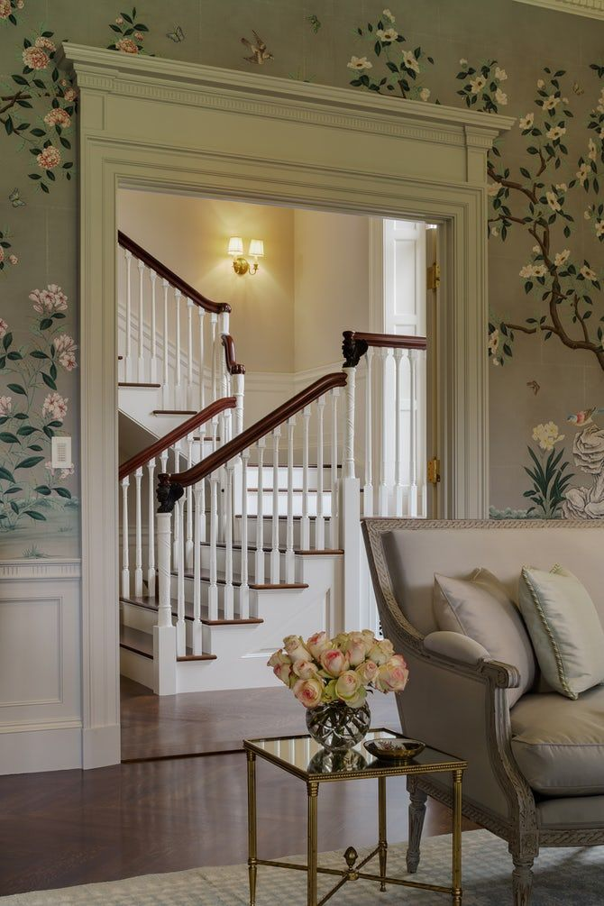 Summer Country House Stairs Staircase Architectural Detail Design Federal Neoclical By Dell Mitchell Architects