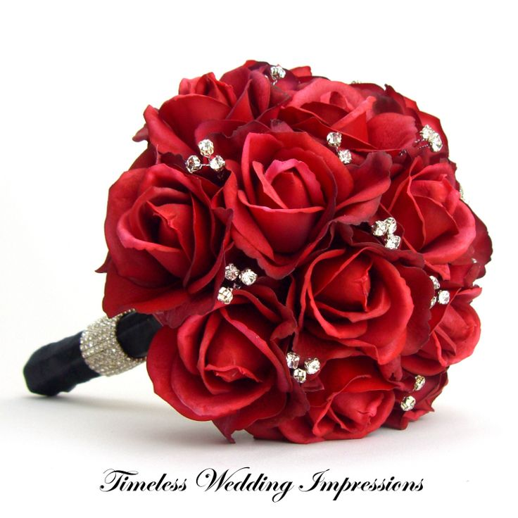 Bridal Bouquet Red Roses Real Touch Silk Wedding Flowers Rhinestones