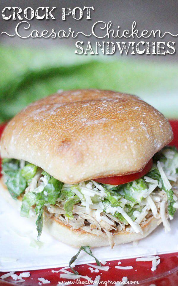 Easy Crock Pot Chicken Caesar Sandwich on Ciabatta