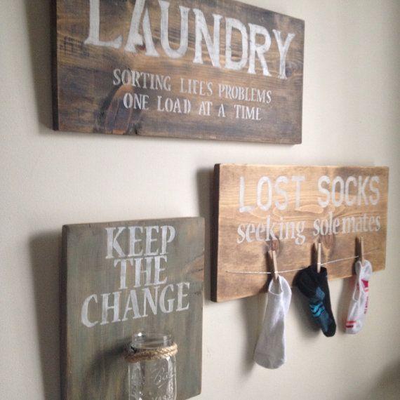 """Turn """"lost and found"""" items in your home into laundry room decor Laat m gelijk maken door Stoereplanken.nl"""
