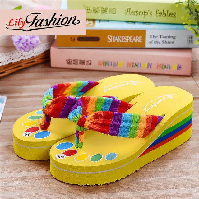 Fun Rainbow Flip Flop Sandals - 5 colors