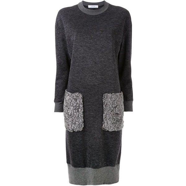 Le Ciel Bleu Contrast Pocket Sweatshirt Dress ($173) ❤ liked on Polyvore featuring dresses, grey, grey sweatshirt dress, grey dress, pocket dress, gray dress and sweatshirt dress