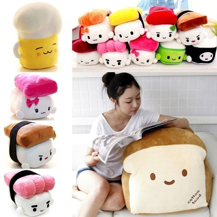 Sushi pillows with kawaii faces