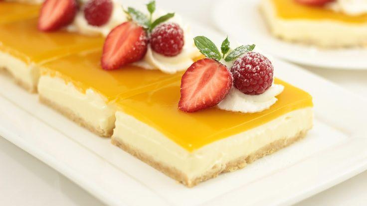 Mango Cheesecake | Fruchtige Mango-Schnitten ohne Gelatine