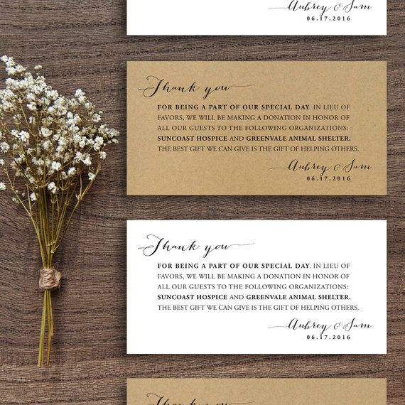 Printable Wedding Donation Favor Cards, Wedding Thank You Note, donations, favors, cards, diy, pdf, simple, elegant, donation favor tags