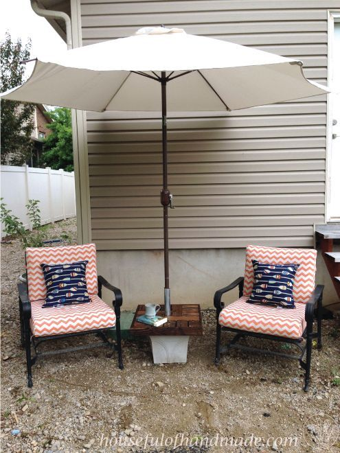 diy umbrella stand with side table, diy, how to, outdoor furniture, painted furniture, woodworking projects