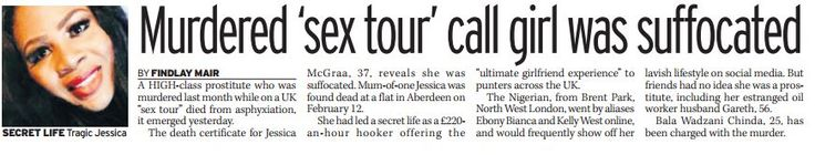 Murdered 'sex tour' call girl was suffocated. April 1st 2016, Daily Mirror.