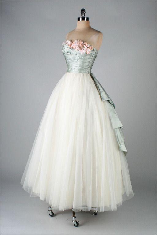 ~1950's, Dress with silk satin millinery trim, by Ceil Chapman~