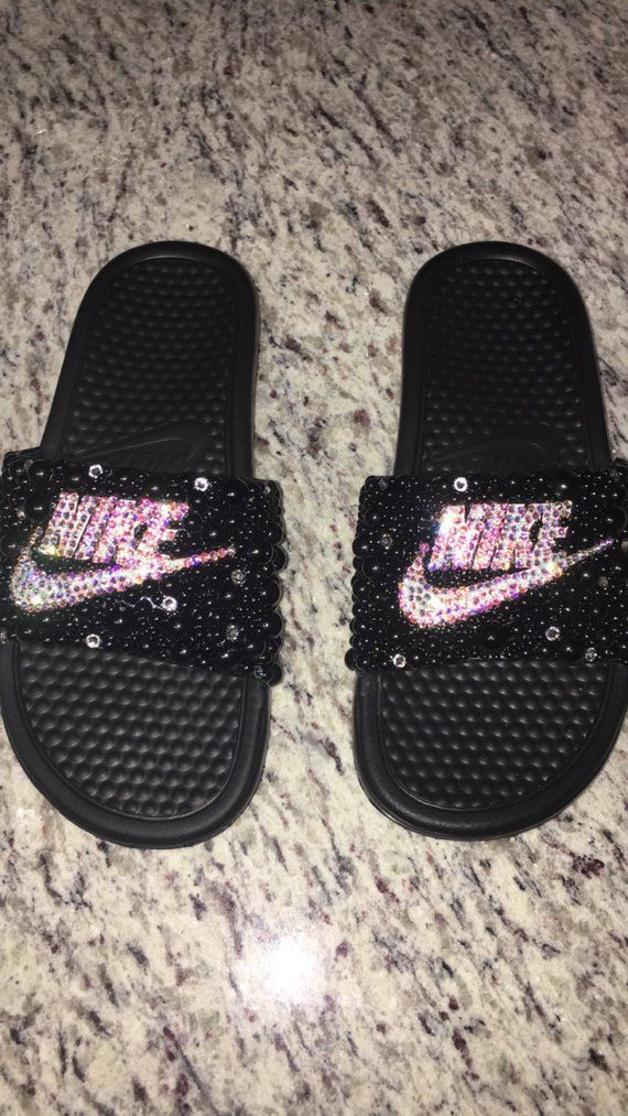 low priced 0dd66 3c78a Bling Nike Slides w Swarovski Crystals  Pearls