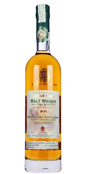 Secret Treasure Springbank 1970 37YO. A true collector's item distilled and aged by the Springbank distillery and bottled exclusively for the Secret Treasures as a single-barrel bottling. Awarded with a Liquid Gold Award in 2010. Jim Murray gave it 94 points. Only GBP 164.99