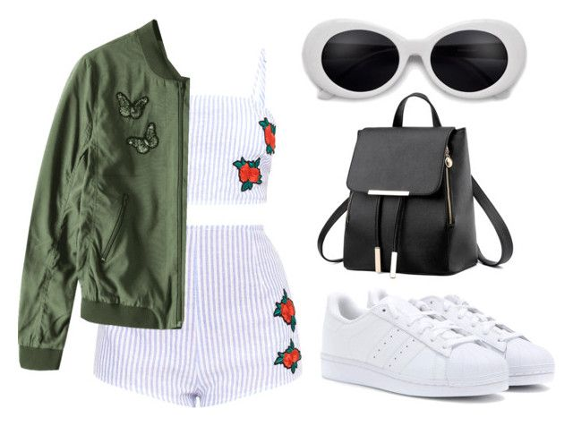 """Green & Roses"" by liaperezmorales on Polyvore featuring adidas Originals"