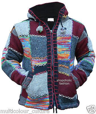 Multi-Coloured-Festival-Wool-Patchwork-Knit-Hippie-Hoodie-Jacket-Boho-Cardigan
