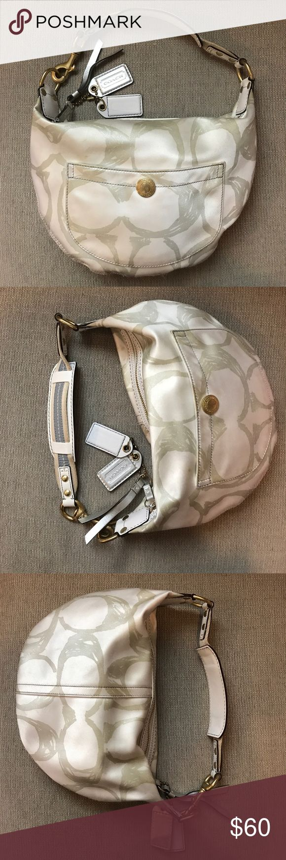 """Coach Hobo Bag (Silver and White) This vintage bag is fresh for spring. White with metallic C print and gold hardware. Very gently used (slight dirt mark on front as shown in pictures and a little wear on the gold hardware). Inside is pristine. 12""""x8.5""""x2"""" Coach Bags Hobos"""
