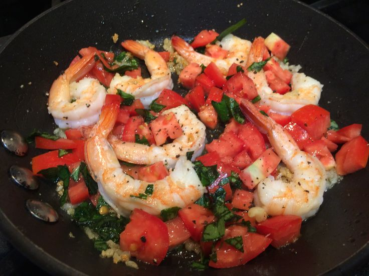 A QUICK at home meal idea: Bruschetta shrimp. Peeled, tail-on shrimp sautéed in grass fed ghee with fresh pressed organic garlic. At the last minute of cooking throw in chopped fresh organic Roma tomatoes and chopped fresh organic basil. Turn off heat and serve once basil begins wilting.