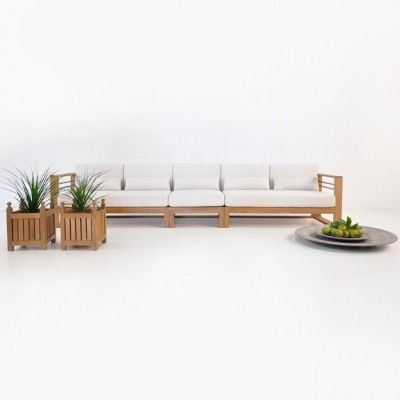 teak and white cushion patio sectional