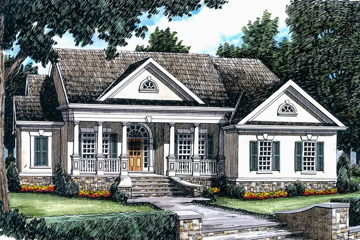 Plan 710017BTZ: Elegant One-Story House Plan with Classic ...
